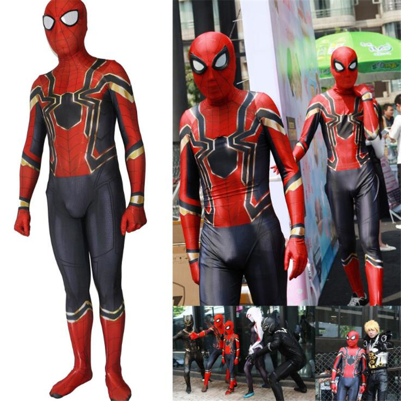 Avengers: Infinity War Spider-Man Cosplay Costume Adult Boys Jumpsuits Animes Exhibition Halloween Party