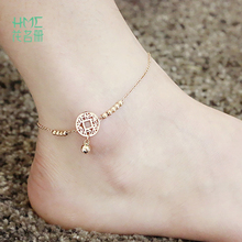High Quality Barefoot Lucky Cat Bells Anklets Titanium Steel Anklet Rose Gold Color Round Circle Pendant Fashion Foot Jewelry(China)