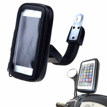 Universal Waterproof Motorcycle Mobile Phone Holder Bike Rear View Mirror Mount Case Holder Bag Stand GPS Bracket For iPhone(China)