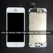Full Set Screen For Iphone 5 LCD With Front Camera Home Button Assembly Complete Replacement  No Dead Pixel AAA Quality