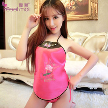 2 Pcs Erotic Chinese Style Lingeries with T Pants Women's Sexy Vintage Bellyband Backless Halter Sleepwear Embroidery Nightwear