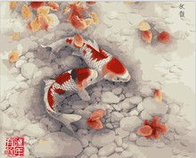 Frameless picture on wall  Animal design Fish picture diy paint by numbers for lobby decoration  40X50cm
