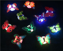 Colorful Luminous Flowers LED Butterfly Nightlight Stickers Car glasses Small Night Lamp Wall Lights Indoor Lighting x 100pcs