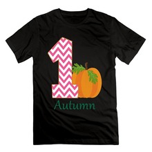 Tee Shirts Hipster O-Neck Men's 1st Birthday Girl Chevron Pumpkin Personalized Infant Cotton Short Sleeve T Shirts(China)