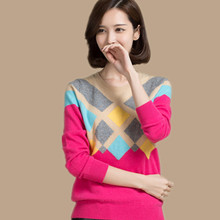 2015 top quality sweater of 100% pure cashmere sweater women's  knitting pullover Warm fashion round collar knit tops