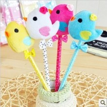 Free ship!1lot=40pc!Cute cartoon chick bow ball pen /cartoon animal plush pen/stationery goods/children gift(China)