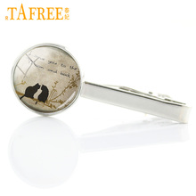 TAFREE love animal charms black cat dog owl glass photo men tie clips vintage dog tie bar pin men dress accessories jewelry A130(China)