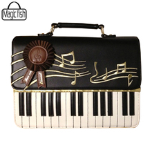 Fashion Luxury Design Rock Style Women Leather Handbag Embroidery Black And White Piano Keys Famous Designers Women Bag LM2163/l
