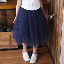 Spring/Autumn Bigger Girls Mid-Calf Mesh Skirts Kids 40~50cm Long Skirt Canday Color Skirt for girls Childrens Casual Skirt Grey