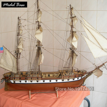 Wooden Ship Models Kits Educational Toy DIY Model-Ship-Assembly 3d Laser Cut Wood Scale Model 1/85 US CONSTELLATION 1843