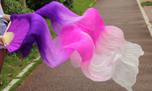 2016 female high quality Chinese silk veils dance fans Pair of belly dancing fans cheap Purple + purple + Rose + Pink + White