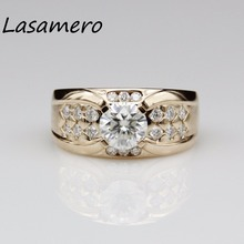 LASAMERO   1.2CT 8mm  round Certified Moissanite Ring Accents 18k Gold Real diamond  Engagement Wedding Ring
