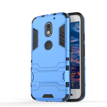 For Motorola Moto E3 Silm Armor Hybrid Silicone Rubber Hard Plastic Dirt Resistant intelligent Cover Phone Case 2 in 1 + stent(China)