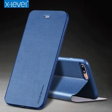 X-Level Business Style PU Leather Flip Phone Case for Apple iPhone 7 7 plus Luxury Stand Case Cover