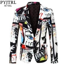 PYJTRL Suit Jacket Costume Blazer-Design Slim-Fit Mens Casual Brand Singer Print Male