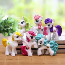 6pcs/set Lovely Little Horse Action Figures Toys Cute Rainbow Horse Children's Gifts 5cm