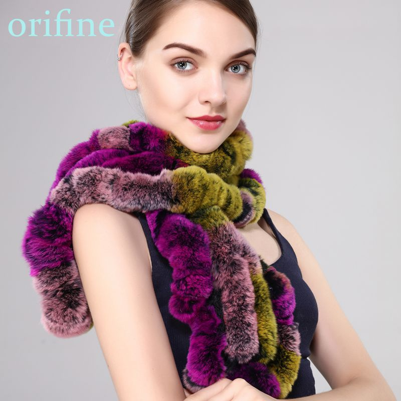 New lady winter warm furscarf natural rex rabbit fur muffler ruffles thick soft falbaba collar muitic color