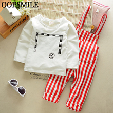 autumn baby boys/girls cotton clothes cartoon Football shirt+stripe Overalls pants 2pcs suit baby boys/girls clothing sets(China)
