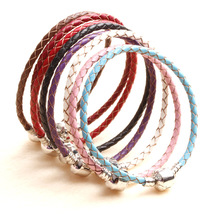 New fashion leather cord woven bracelet DIY beaded jewelry bracelets transfer beads Leather Bracelet 8 colors factory direct(China)