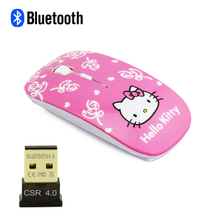 CHYI Bluetooth 3.0 Wireless Hello Kitty Mouse with USB Bluetooth 4.0 Adapter Ultra-thin Mice with CSR 4.0 Dongle Receiver For PC(China)