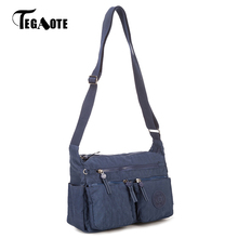 TEGAOTE Female Bag Shoulder Luxury Handbags Women Bags Designer Bolsa Feminina Black Solid Nylon Waterproof Beach Bag Sac A Main