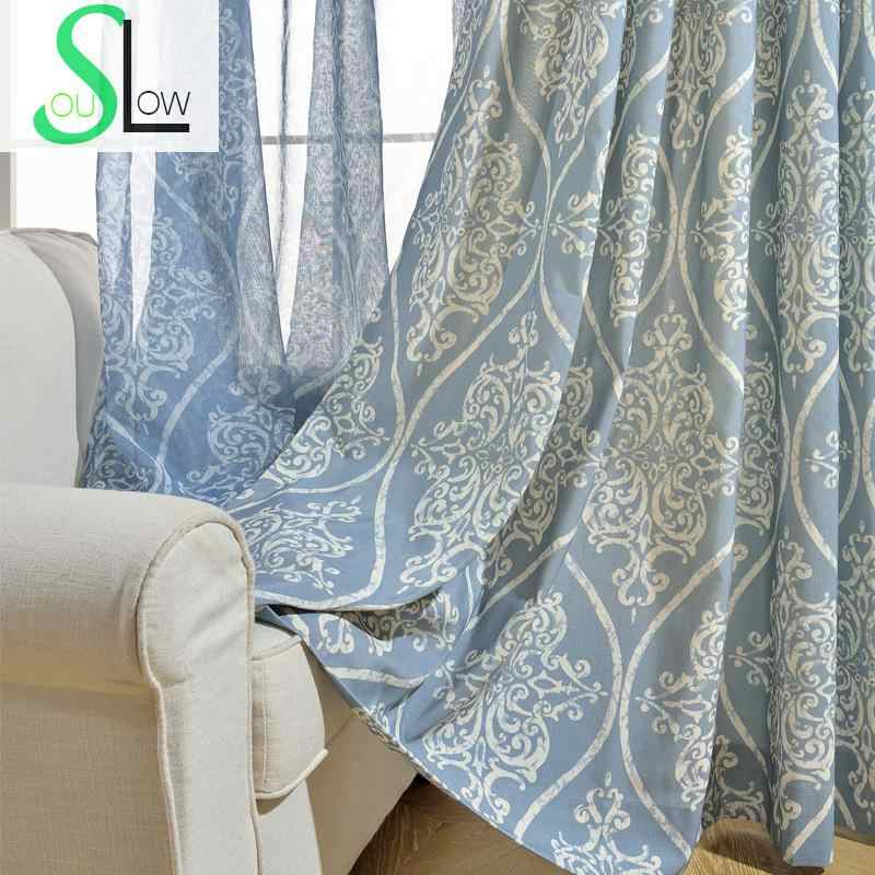 Slow Soul Blue Youth Wave Fleeting Modern Minimalist Chinese Curtain Floral Curtains  Cortina For Living Room Kitchen Bedroom