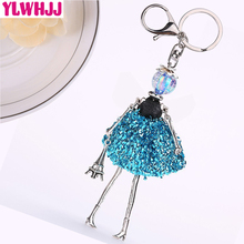 YLWHJJ brand new women blue cute Handmade doll bag car keychain pendant girl fairy baby key chains hot statement fashion jewelry(China)