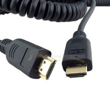Black HDMI Male to HDMI Male Stretch Spring Cable for HDTV DVB DVD PC 1080p 4ft