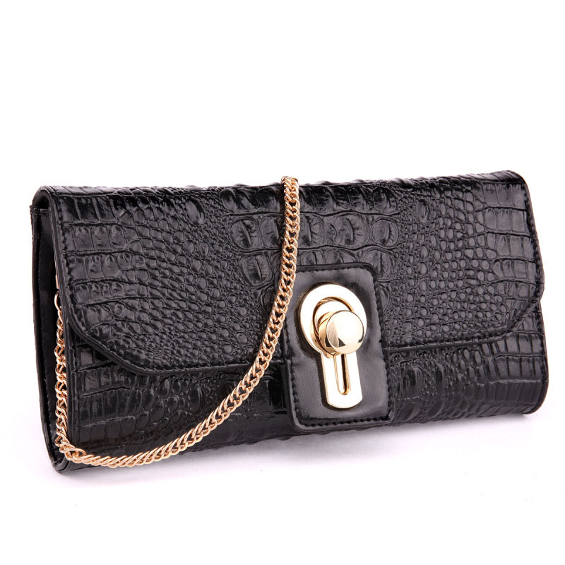 New Arrival Women Genuine Leather Crossbody Bags With Soft Crocodile Pattern Leather European Shoulder Bags &amp; Day Clutches A062<br>
