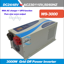 HOT SALE!Solar Grid off Inverter 3000W DC 24V/48V pure sine wave inverter output 110/230VAC,50/60HZ with LCD display with UPS