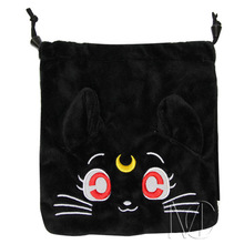 Anime/Cartoon Sailor Moon Black Jewelry/Cell Phone Drawstring Pouch/Wedding Party Gift Bag (DRAPH_16)(China)