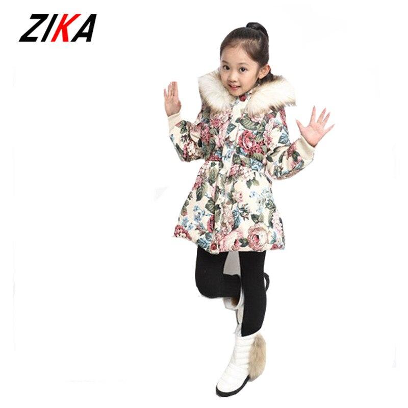 ZIKA 2017  warm coat baby girls winter long sleeve flower jacket children clothes kids christmas outwear with hood lyw-30713Îäåæäà è àêñåññóàðû<br><br>