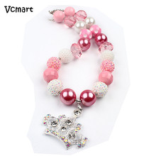 Vcmart 2pcs Crown of Queen Pink Beads Necklace Kids Children Princess Chunky Bubblegum Necklace DIY Dress Party Best Gift