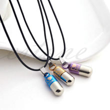 Delicate Pill Capsule / Perfume Bottle Design Titanium Steel Necklaces & Pendants for Men Women Couples Lovers(China)