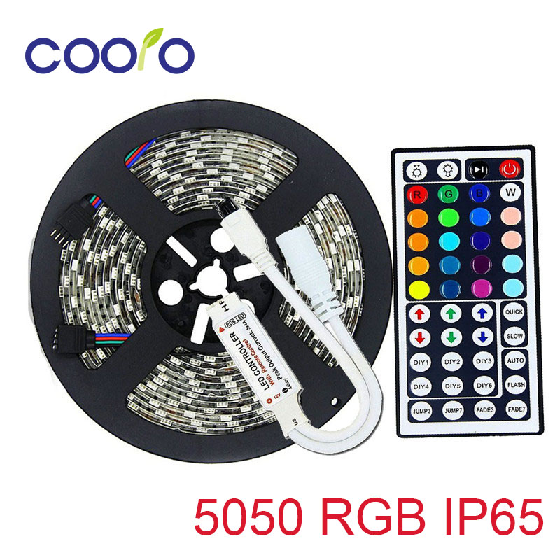 DC12V SMD 5050 RGB LED strip flexible light 60leds/m,5m/roll LED strip 5050 RGB IP65 waterproof with 44 key RGB controller(China)