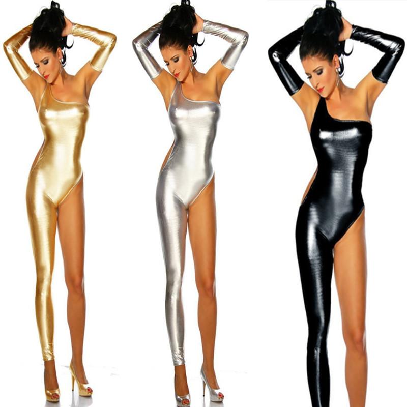 DJGRSTER Women Pole Dance Costume Latex Lingerie Sexy Faux Leather Catsuit Black Bodysuit PVC Wet Look Bandage Half Jumpsuit (1)