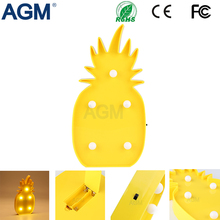 AGM Pineapple Marquee LED Nightlight Battery Operated Desk Table 3D Lamps For Kids Bedroom Home Decoration Night Light