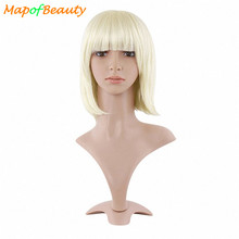 MapofBeauty short blonde Bob wig 30cm 12 inch Synthetic cosplay wigs straight hair Heat Resistant for women peruca(China)