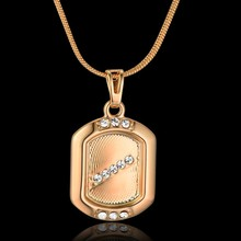 Gold Color Cubic Zirconia Necklace Women Jewelry Unique Round Rectangle Pendant & Chain For Women Gifts Collares N605