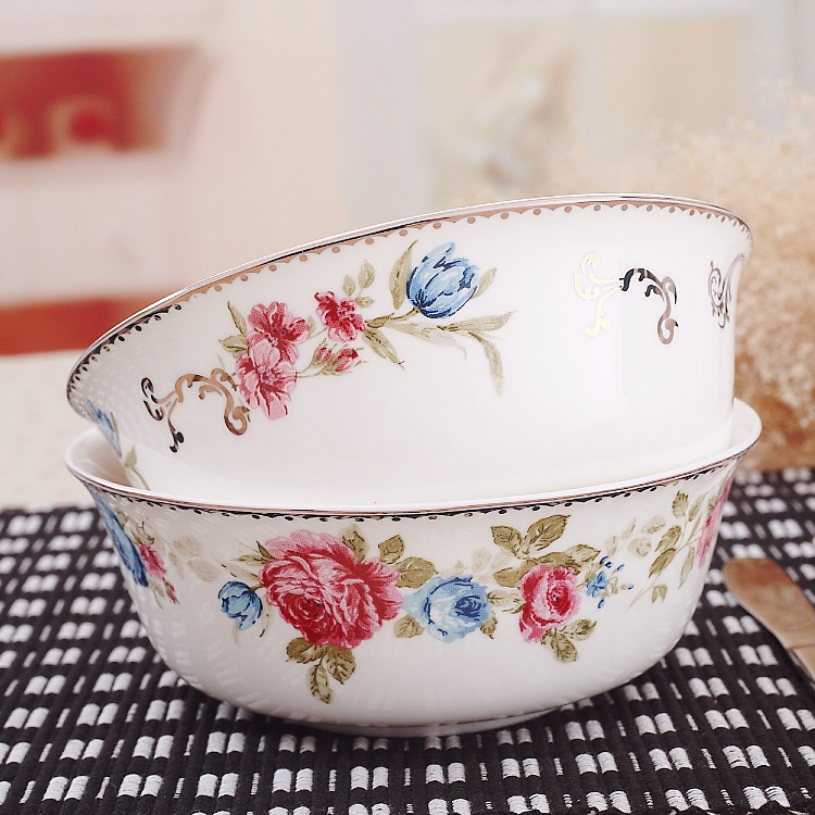 6 Inch Gilded Banding Rose Flower Painting Bone China Soup Bowl Set Decorative Ceramic Salad Big For Serving