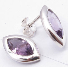 Solid Silver Natural Amethysts Cute Lightweight s Post Earrings 1.5CM1 Pair of  Earring