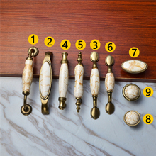 8Sizes Ceramic Vintage Bronze Door Handle For Kitchen Shoe Cabinet Room Home Furniture Metal Knobs Accessories with Screws(China)
