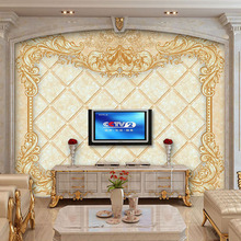 Custom Photo Wall Paper European Style Flower Pattern Large Mural Living Room TV Background Wall Decor 3D Wall Murals Wallpaper(China)