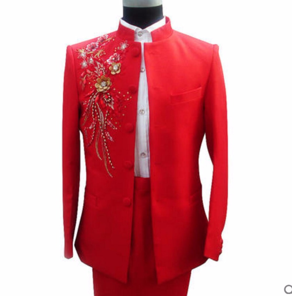 S-3XL 2017 New fashion Men's Paillette chinese tunic suit clothes male costume set red stand collar formal dress singer costumes