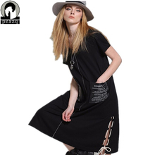 Summer dress Vintage Elegant European women's black loose round neck short sleeve dressTunic Wear To Work Party Dress Plus size(China)