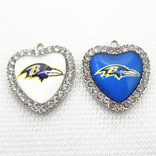 20pcs Football Team Baltimore Ravens Charms Crystal Heart US Sport Floating Charms DIY necklace pendant Jewelry Dangle Charms(China)