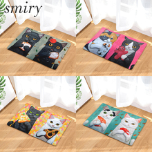 Smiry welcome home door mats light soft cute funny cartoon eating food cats pattern rugs water absorption bedroom foot pad decor