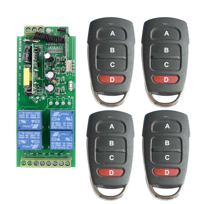 Smart Home AC85v~250V 110V 220V 230V 4CH Wireless Remote Control Switch Relay Output Radio Receiver Module and 4PCS Transmitter<br>