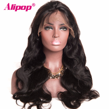 Brazilian Body Wave Full Lace Human Hair Wigs For Black Women Remy Swiss Lace Human Hair Wigs With Baby Hair ALIPOP Lace Wig(China)