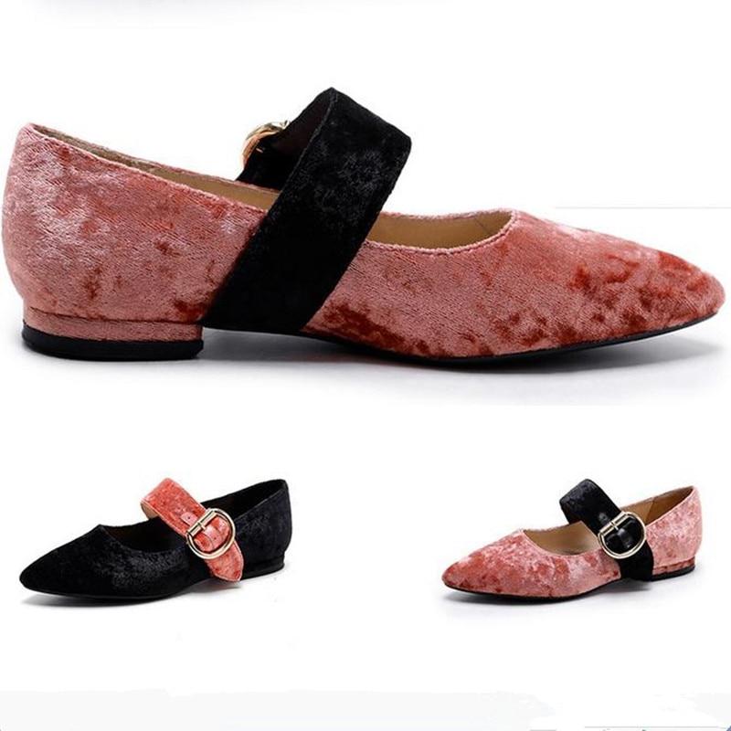 2017 spring new velvet pointed head female flat shoes Spell color Mary Jane shoes Velvet buckle Ballet Flats Women Shoes obuv<br><br>Aliexpress